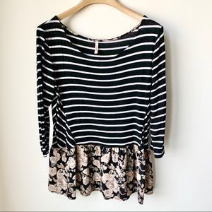 Black & white striped, cream floral 3/4 sleeve top